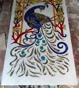 4'x2' Peacock Coffee Center Wall Decor Fancy Marble Table Top Inlay Malachite