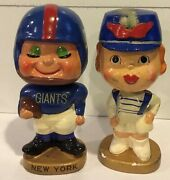1960and039s New York Giants Kissing Pair Bobble Head Dolls