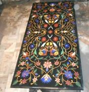 4and039x2.5and039 Black Marble Table Top Dining Center Inlay Lapis Mosaic Home Decor G559