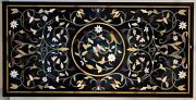 4and039x2.5and039 Black Marble Table Top Coffee Center Inlay Lapis Mosaic Home Decor