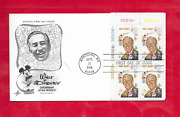 Walt Disney Plate Block 1st Day Cover Scottand039s 1355 From 1968