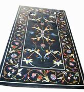 5and039x2.5and039 Black Marble Center Dining Table Top Inlay Pietradura Work Home B4