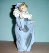 Nao Lladro Pierrot With Flower Hand-painted Girl Clown Figurine 8.25h 01094