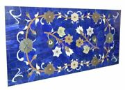 5and039x2.5and039 Marble Table Top Dining Coffee Center Agate Inlay Work Hand Blue Lapis