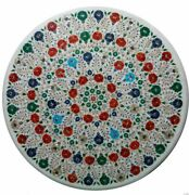 30 White Marble Table Top Coffee Dining Inlay Lapis Mosaic Home Decor G676