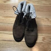 Vintage Hush Puppies Brown Suede Lined Boots Size 9m Made In Canada