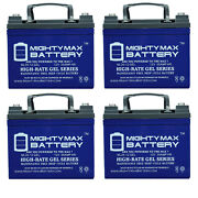 Mighty Max 12v 35ah Gel Battery Replacement For John Deere Rx75 - 4 Pack