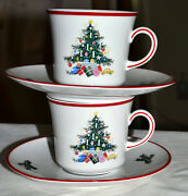 Mint Vintage Christmas Tree Schumann Bavaria Germany, Noel Cup And Saucer Sets