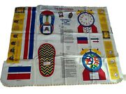 Vtg Kids Corner Learn To Tell Time And Tie Shoes Fabric Panel Craft Cut And Sew