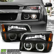 2002-2006 Chevy Avalanche Black Smoke Led Halo Projector Headlights+bumper Lamps