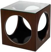 Side Table Scarborough House Cube Ebonized Black Mozambique Steel Ring Glass