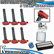 Uf242 Red Ignition Coil + Denso Spark Plugs Tune Up Kits For 99-02 Honda Odyssey