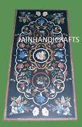 52and039and039x30and039and039 Side Black Marble Center Table Top Pietra Dura Handicraft Inlay Work