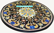 42and039and039 Black Marble Table Top Dining Semi Precious Stone Inlay Patio Room Decor C5