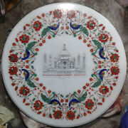 3and039x3and039 Marble Dining Coffee Corner Center Table Top Mosaic Inlay Round Taj Mahal
