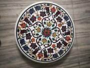 30and039and039 Round Marble Corner Coffee Table Top Antique Stone Lapis Inlay Home Decor