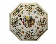 30and039and039 White Coffee Marble Table Top Inlay Work Multi Semi Precious Stones N4