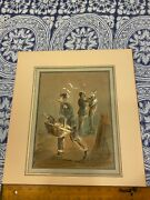 Original Watercolor Dupendant W/c Soldier Sneaking Geese French Artist 1835 -84