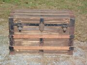 Antique Metal And Wood Travel Chest Canvas Steamer Trunk Steampunk