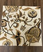 Rare Pottery Barn Vintage Fall Pillow Cover Neutral 24x24 Embroidered Crewel Euc