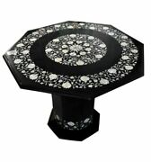 30and039and039 Black Marble Table Top With Stand Center Inlay Pietra Dura Home Decor