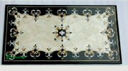 4and039x2.5and039 Black Marble Table Top Malachite Inlay Mosaic Antique Coffee Center