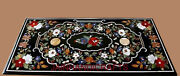 4and039x2and039 Black Marble Coffee Table Top Halloween Gem Lapis Inlay Garden