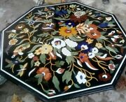 42and039and039 Black Octagon Marble Coffee Center Table Top Inlay Dining Handmade Decor