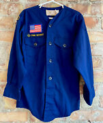 Vintage 70s Colarless Cub Scout Shirt Den 1 Usa Patches Sewn Boy Scouts Camping