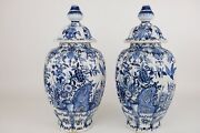 Large Pair Blue And White Chinoiserie Dutch Delft Faiance Jars 46 Cm / 18.4in