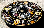36'' Handicraft Black Marble Dining Coffee Table Top Wall Inlay Mosaic