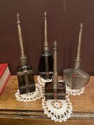 Lot 4 Antique Middle Eastern Glass Silver Metal Stones Rose Water Perfume Bottle