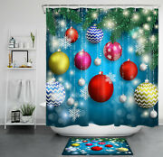 Colorful Christmas Balls Fir Branches Shower Curtain Sets Bathroom Decor And Hooks