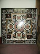 3and039x3and039 Black Marble Table Top Coffee Center Inlay Lapis Mosaic Home Decor G608