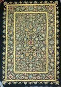Area 3and039x3and039 Rug Jeweled Persian Tapestry Floral Wall Hanging Zari Carpet