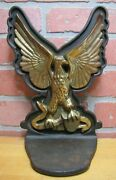 Spread Winged Eagle Old Large Cast Iron Brass Bronze Doorstop Bookend Statue