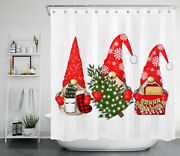 71 Red Gnome Elf Christmas Tree Shower Curtain And Hooks Bathroom Accessory Sets