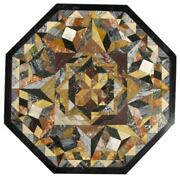 30and039and039 Black Marble Table Top Center Inlay Pietra Dura Home Decor Gm3