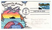 C115 Trans-pacific Airmail Ciipper Block Dorothy Knapp Hand Painted 1985 Fdc