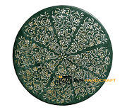 24and039and039 Antique Green Marble Dining Coffee Table Top Inlay Round Pietra Dura