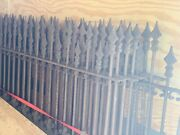 1860s-70s Victorian Cast Iron Fence And Two Gates Over 80 Ft W Posts 13 Sections