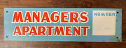 Vtg 50s 60s Managers Apartment No 2 Humor Tin Metal 14 Funny Advertising Sign