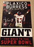 Plaxico Burress Signed 19x29 Giant The Road To The Super Bowl Book Cover W/coa