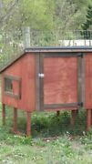 3and039 Large Wooden Chicken Coop With Nest Box. Heavy-duty Metal Roof. 74x48x48