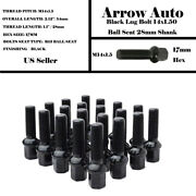 20 Pcs Mercedes Black 14x1.5 Ball Seat Lug Bolts 1.11and039and039 28mm Thread Fit Audi