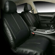 9pcs Black Leatherette Car Seat Covers Front Rear Full Set Synthetic Leather