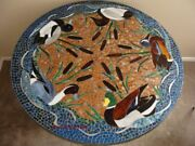 3and039x3and039 Blue Marble Center Dining Table Top Pietra Dura Inlay Mosaic Handicraft