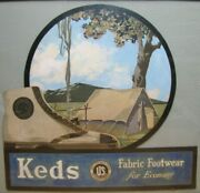 Keds Sneakers Fabric Footwear Old Store Display Ad Sign United States Rubber Co