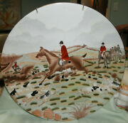 Antique Nippon Porcelain Fox Hunt Horse Wall Plaque Plate Charger 14
