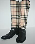 Black Leather Nova Check Tall Riding Boots Made In Italy Size Eu 39.5